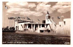 New York 1940 World's Fair Fountain and Brtitish  Pavilion