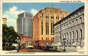 ST PAUL, MN Minnesota  FOURTH STREET SCENE Telephone Co~Library LINEN POSTCARD