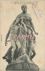 Old Postcard Troyes Aube Children Monument