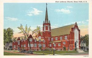 Sioux Falls South Dakota~First Lutheran Church~Sign in Yard~Cars in Street~1920s