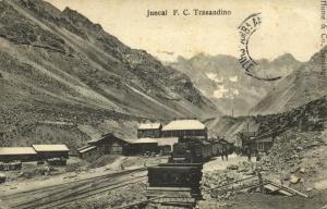 chile, Juncal F.C. Transandine Railway Station (1917) Hume & Co. Postcard