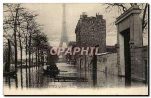Crue of the Seine Paris Old Postcard Floods The Quai de Grenelle (Eiffel Tower)