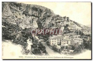 Old Postcard Fountain Vaucluse Petrarch and Vieux Chateau