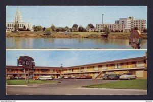 Driftwood Motel, Idaho Falls, Idaho USA posted 1962, 2x scenes, cars autos