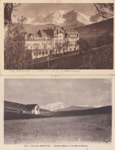 Col des Aravie Chalet Hotel Combloux Mont Blanc 2x Old Postcard