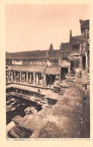 Angkor Vat Cambodia, Cambodge Bassin et galerie cruciale vus du Sud East Angk...