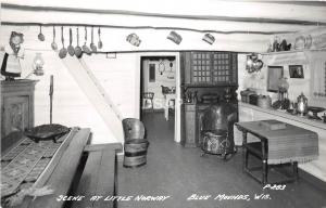 A55/ Blue Mounds Wisconsin Wi Postcard Photo RPPC c1950 Little Norway Interior