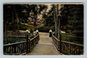 Portland ME, Rustic Bridge At Riverton Park, Vintage Maine Postcard
