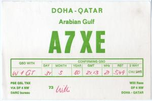QSL, A7XE, Doha, Qatar, 1980