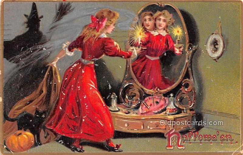 Raphael Tuck Publishing Halloween 1909 corner wear, light paint chips on card