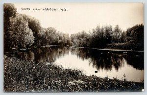 Horicon Wisconsin~Rock River View~H Montgomery Photographer~c1912 RPPC