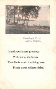 Page Washington~Life is Worth the Living Here~Waterfront View~1912 Postcard