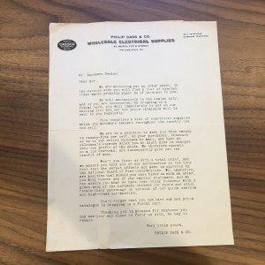 Vintage Electrical Supplies Appliances PHILIP CASS Co Letter