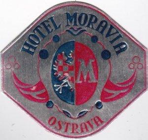 Poland Ostrava Hotel MOravia Vintage Luggage Label sk1554