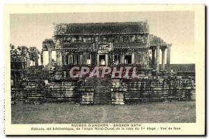 Postcard Ancient Ruins Cambodia Angkor D Angkor Vath Aedicule said library Li...