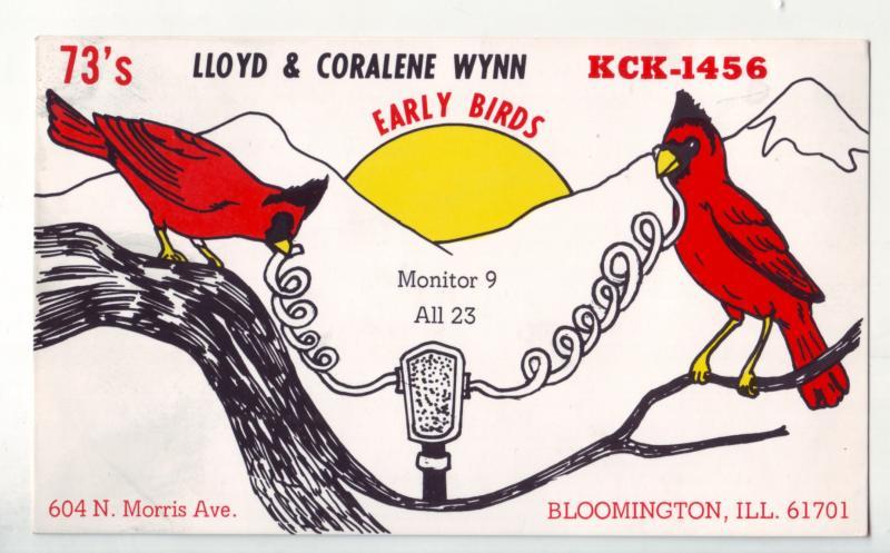 P1118 unused 2 red cardinals radio card lloyd & coralene wynn bloomington ill.