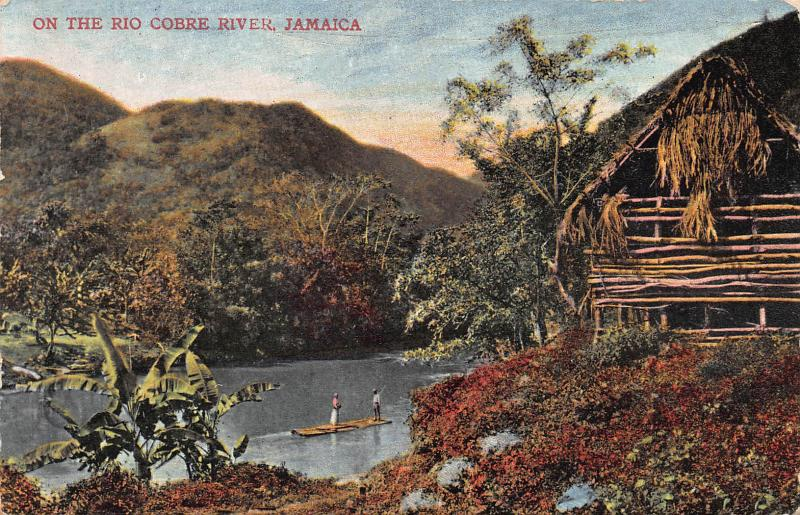 On the Rio Cobre River, Jamaica, Early Postcard, Used in 1909