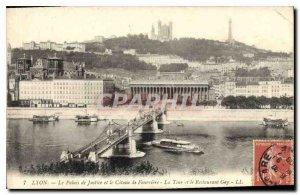 Postcard Old Lyon Courthouse and the Coteau de Fourviere La Tour and Gay Rest...