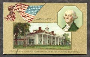 dc280 - GEORGE WASHINGTON Portrait & House 1909 Patriotic by Winsch