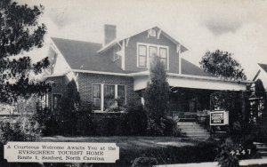 SANFORD , North Carolina , 1930s ; Evergreen Tourist Home