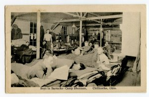 Postcard Boys in Barracks Camp Sherman Chillicothe Ohio Standard View Card