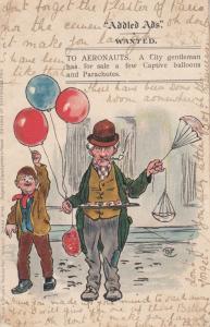 Parachute & Hot Air Balloon Street Market Trader Antique Comic Humour Postcard