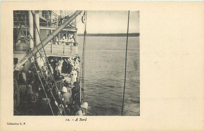 British Colonial ship real photo postcard Ghana Gold Coast - A Bord