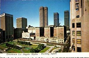 California Los Angeeles Downtown Skyline Pershing Square 1974