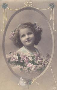 RP;  Tinted, Portrait of young girl surronded by pink and purple flowers, 00-10s