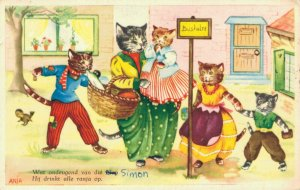 Cats Dressed As Humans Kittens Bus Stop Vintage Postcard  06.38