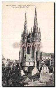 Old Postcard Quimper The Arrows of the Cathedral shooting the Hotel of the Sword