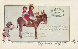 Greetings from Colorado, PU-1907 ; Kids on Donkey