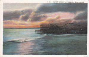California Long Beach Roller Coaster Sunset Scene