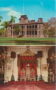 Honolulu Hawaii Iolani Palace Throne  Room and Exterior View  Postcard