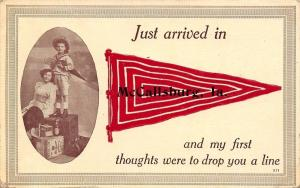 Just Arrived in McCallsburg Iowa~Boy & Girl on Luggage~1912 Pennant Postcard