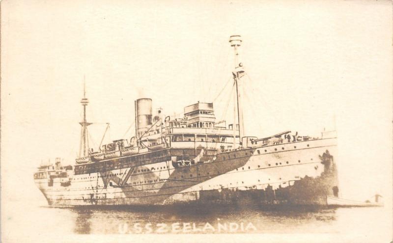 WWI Military~American Troop Transport Ship USS Zeelandia~c1919 RPPC
