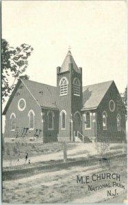 NATIONAL PARK, New Jersey Postcard M.E. CHURCH Street View / 1941 NJ Cancel