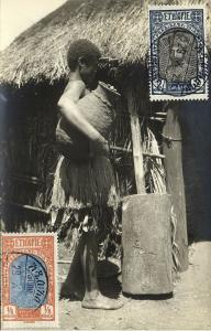 ethiopia, Native Girl with large Jar (1929) RPPC Stamps
