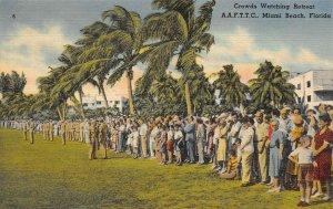 LP26   Miami Beach Florida Postcard Army Air Forces Military Crowds Retreat