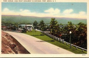 New York Port Jervis Park Avenue High Point Monument In Distance