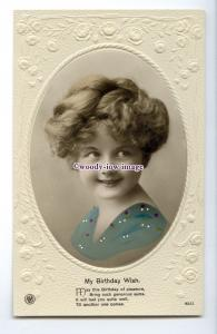 ch0319 - Young Girl Portrait, Embossed, Birthday Wishes, No.9053 - postcard
