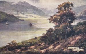 TUCK #7338, The Grampians, A Highland Loch, Row boat & Sailing Vessel, PU-1906