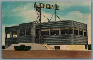 Postcard Somerville NJ c1940s Johnny's Diner on Route 29 Somerville Circle
