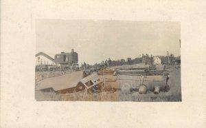 Train Wreck~Locomotive Engine #2145 Toppled~Crane~Real Photo Postcard~RPPC c1910