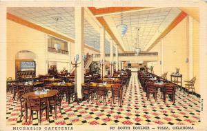 C29/ Tulsa Oklahoma Ok Postcard 1939 Linen Michealis Cafeteria Interior