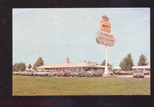 VANDALIA ILLINOIS ROBBINS RESTAURANT 1960's CARS VINTAGE ADVERTISING POSTCARD
