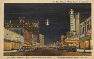 Amarillo Texas~Polk Street North @ 9th~Paramount~Blackburn~Night Lights~1940s