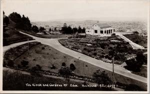 Tea Kiosk & Gardens Mt. Eden Auckland NZ New Zealand c1938 RPPC Postcard E56
