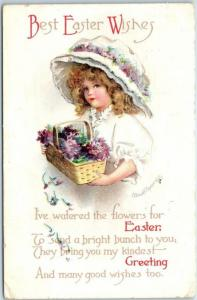 Vintage Artist-Signed CLAPSADDLE Postcard Best Easter Wishes Girl Flowers 1916