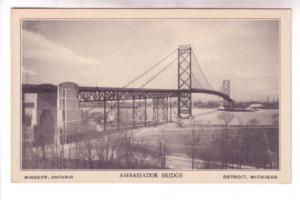Ambassador Bridge Windsor Ontario, Detroit Michigan, Litho in USA